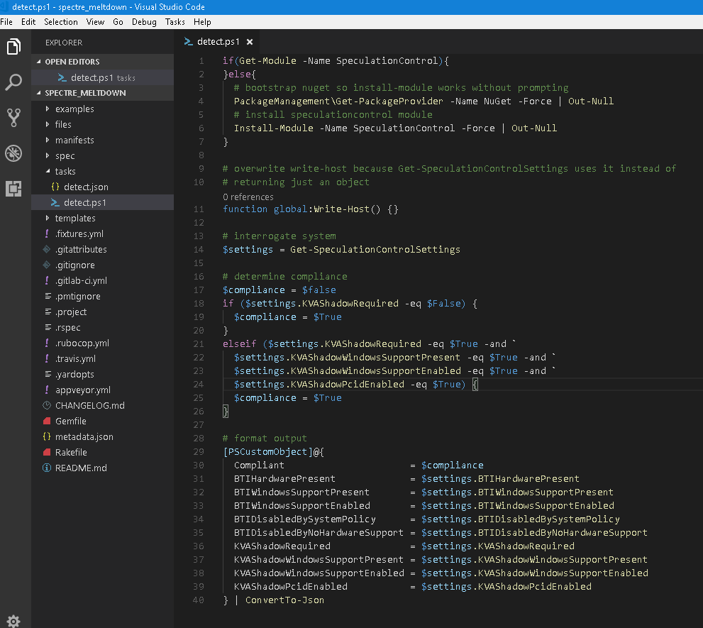 vs code puppet task script view