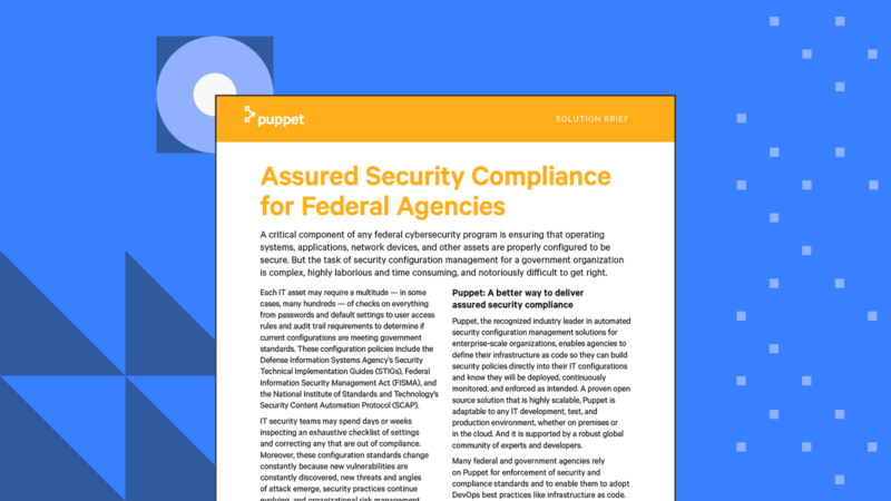 Puppet Security Compliance for Federal Agencies solution brief Card