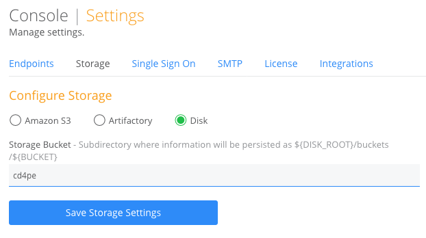 local disk storage console settings cdpe
