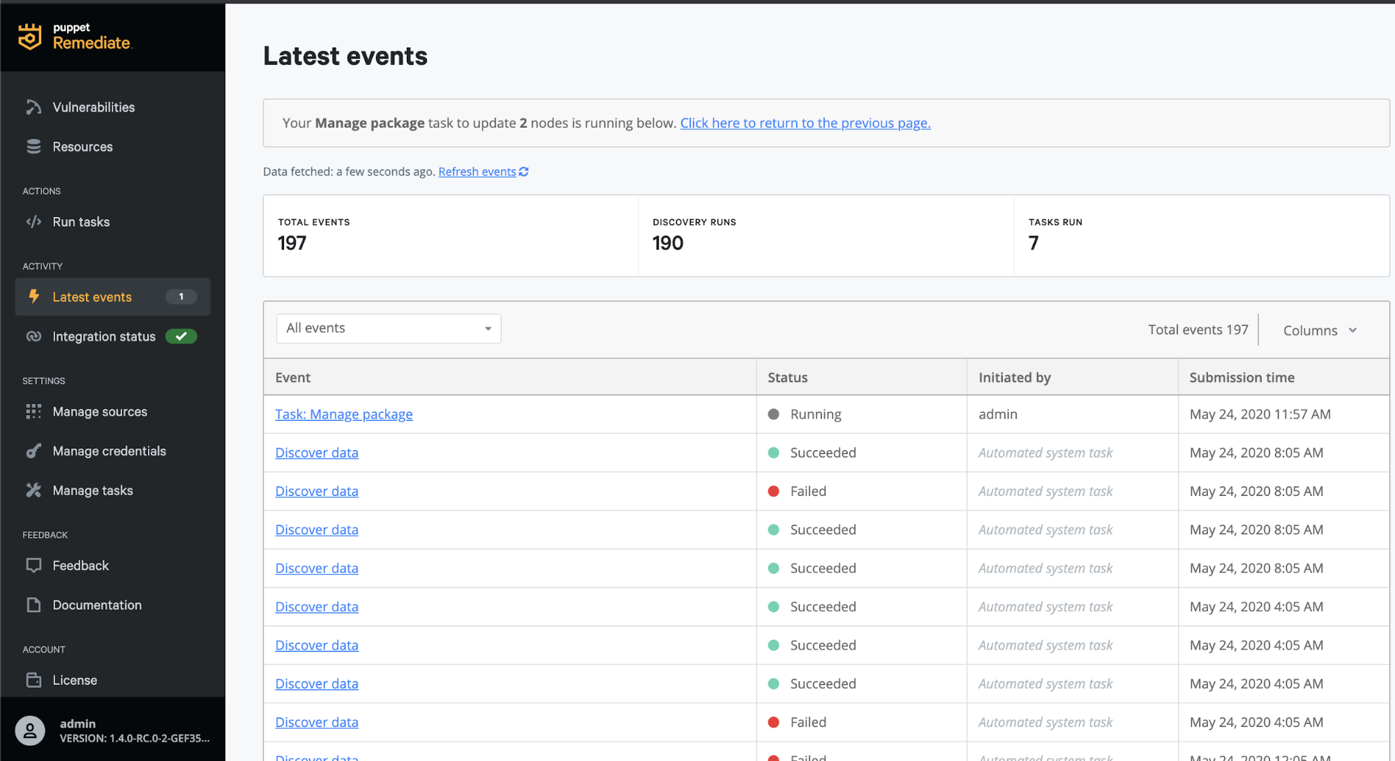 latest events puppet remediate