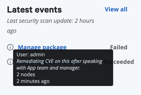 Screenshot of record of remediation showing that 'admin' remediated a CVE on 2 nodes 2 minutes ago