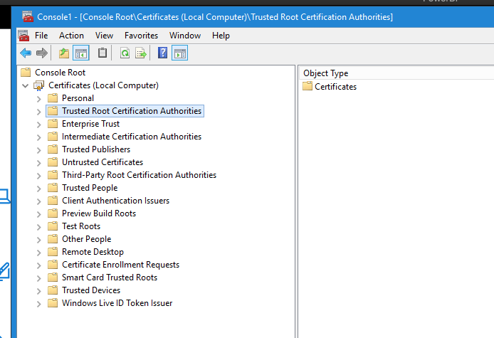 Microsoft Management Console add certificates snap in