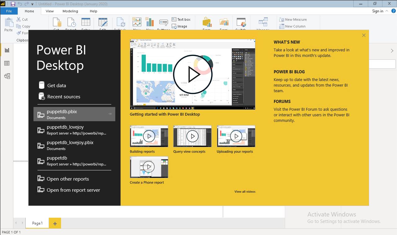 install start PowerBI Desktop