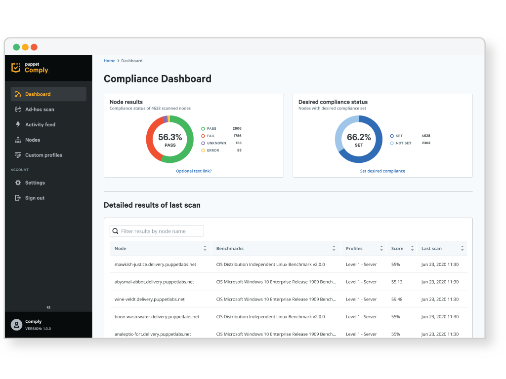 product web COMPLY Dashboard