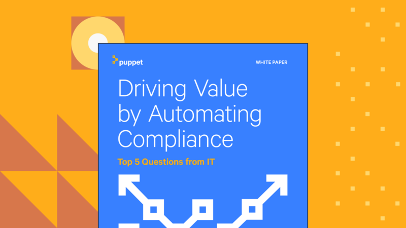 puppet whitepaper driving value by automating compliance top  questions from it Card