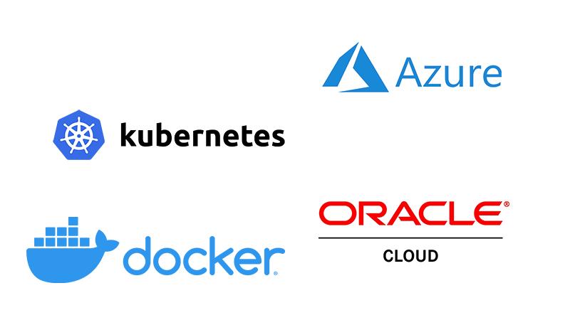 Azure, kubernetes, docker and Oracle Cloud logos
