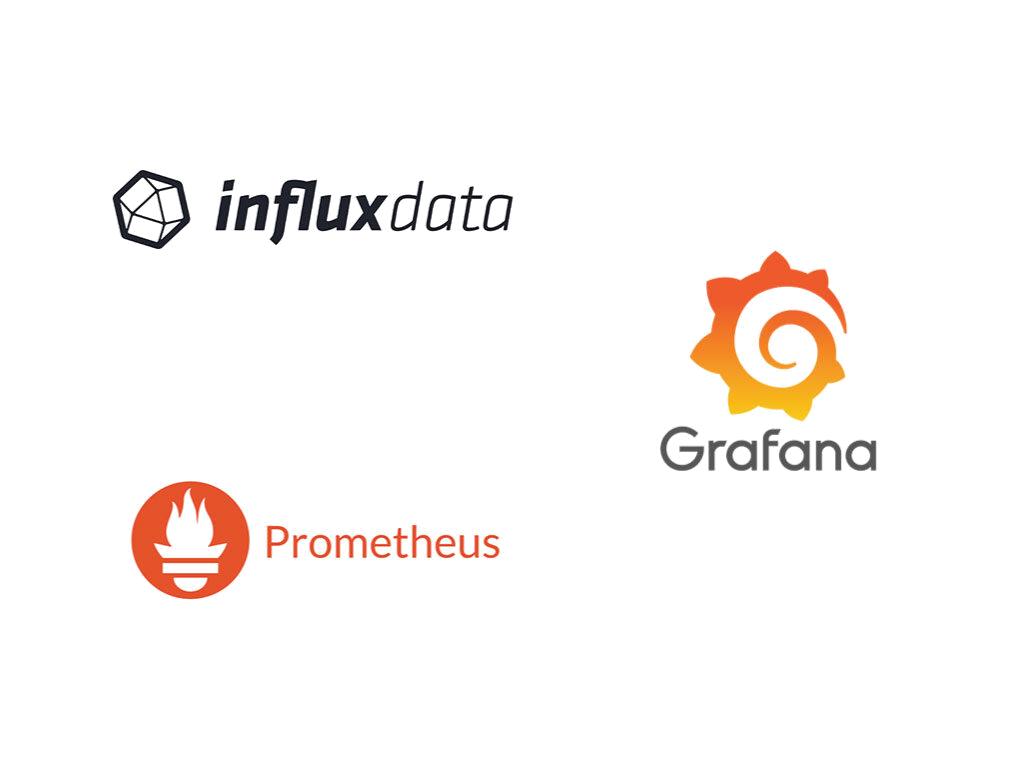 Influxdata, Grafana, Prometheus logos