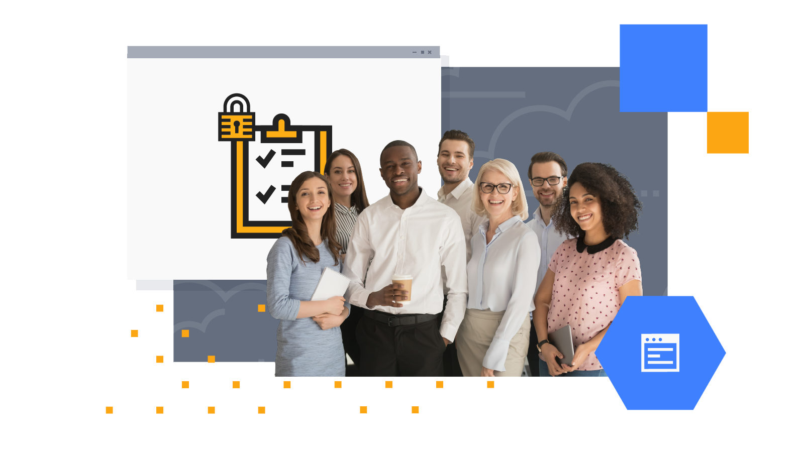 Group of employees smiling, lock and checklist icons